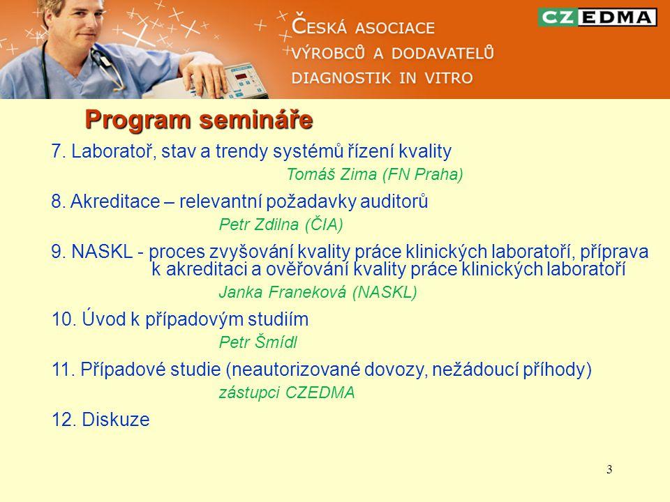 3 Program semináře 7. Laboratoř, stav a trendy systémů řízení kvality Tomáš Zima (FN Praha) 8.