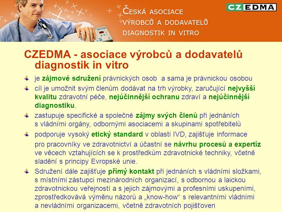 CZEDMA - asociace výrobců a dodavatelů diagnostik in vitro je zájmové sdružení právnických osob a sama je právnickou osobou cíl je umožnit svým členům dodávat na trh výrobky, zaručující nejvyšší kvalitu zdravotní péče, nejúčinnější ochranu zdraví a nejúčinnější diagnostiku.