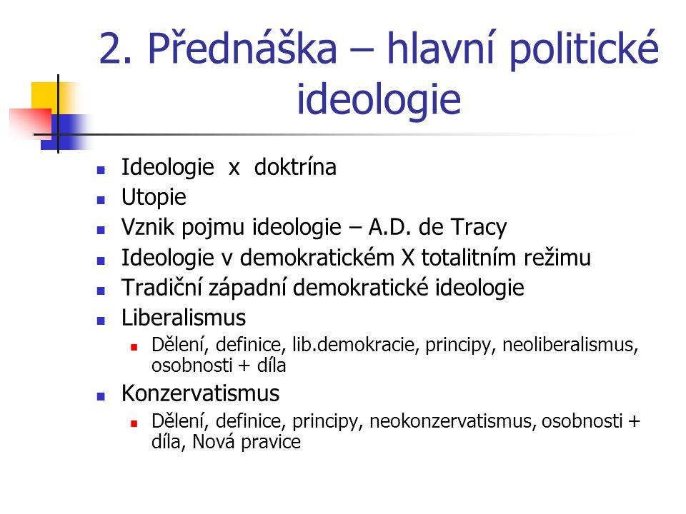2.Přednáška – hlavní politické ideologie Ideologie x doktrína Utopie Vznik pojmu ideologie – A.D.