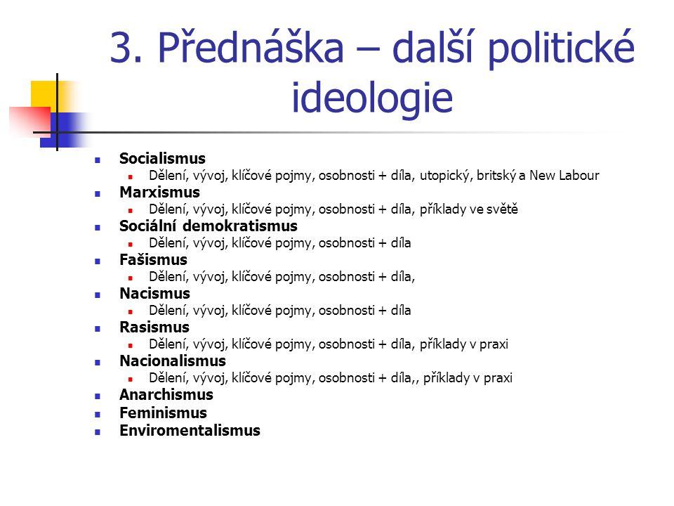 3. Přednáška – další politické ideologie Socialismus Dělení, vývoj, klíčové pojmy, osobnosti + díla, utopický, britský a New Labour Marxismus Dělení,