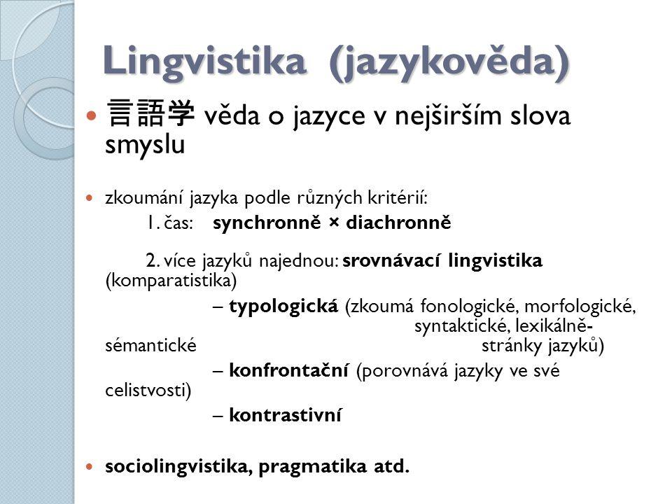 Lingvistika (jazykověda) 言語 学 věda o jazyce v nejširším slova smyslu zkoumání jazyka podle různých kritérií: 1. čas:synchronně × diachronně 2. více ja