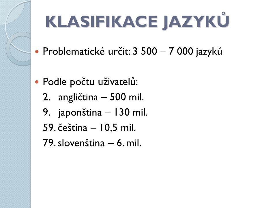 KLASIFIKACE JAZYKŮ Problematické určit: 3 500 – 7 000 jazyků Podle počtu uživatelů: 2. angličtina – 500 mil. 9. japonština – 130 mil. 59. čeština – 10
