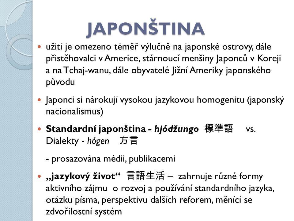 JAPONŠTINA užití je omezeno téměř výlučně na japonské ostrovy, dále přistěhovalci v Americe, stárnoucí menšiny Japonců v Koreji a na Tchaj-wanu, dále obyvatelé Jižní Ameriky japonského původu Japonci si nárokují vysokou jazykovou homogenitu (japonský nacionalismus) Standardní japonština - hjódžungo 標準語 vs.