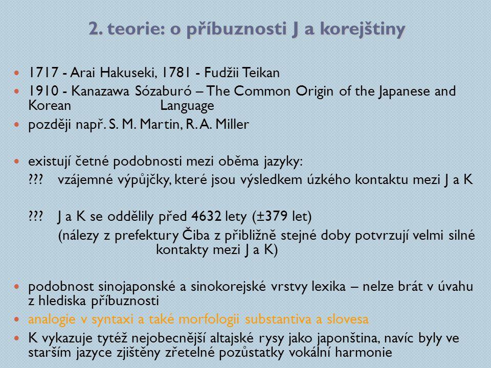 2. teorie: o příbuznosti J a korejštiny 1717 - Arai Hakuseki, 1781 - Fudžii Teikan 1910 - Kanazawa Sózaburó – The Common Origin of the Japanese and Ko