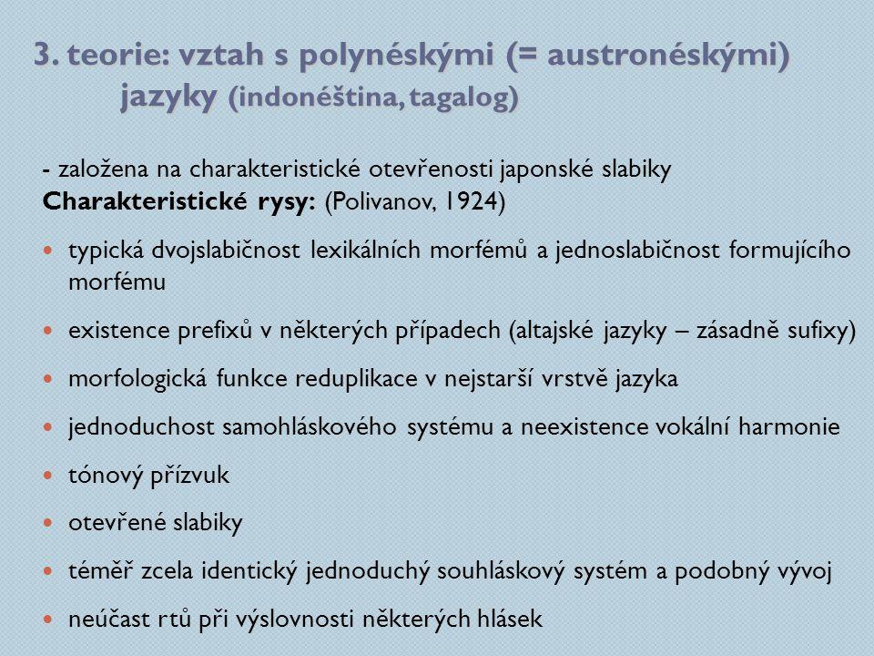 3. teorie: vztah s polynéskými (= austronéskými) jazyky (indonéština, tagalog) - založena na charakteristické otevřenosti japonské slabiky Charakteris