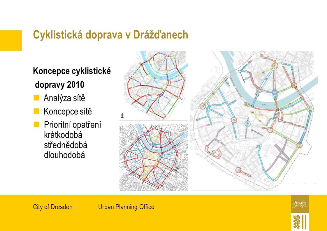 Urban Planning OfficeCity of Dresden Cyklistická doprava v Drážďanech Koncepce cyklistické dopravy 2010 Analýza sítě Koncepce sítě Prioritní opatření krátkodobá střednědobá dlouhodobá