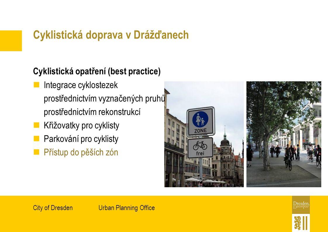 Urban Planning OfficeCity of Dresden Cyklistická doprava v Drážďanech Cyklistická opatření (best practice) Integrace cyklostezek prostřednictvím vyznačených pruhů prostřednictvím rekonstrukcí Křižovatky pro cyklisty Parkování pro cyklisty Přístup do pěších zón