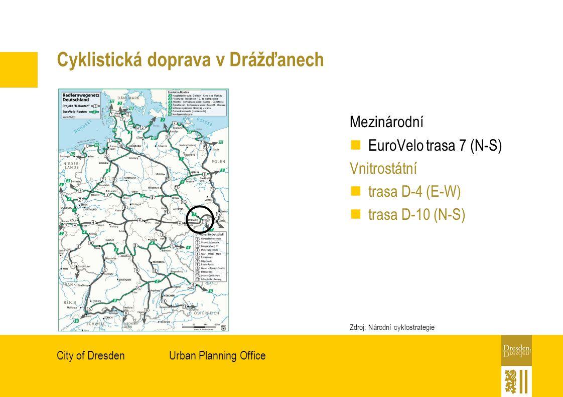 Urban Planning OfficeCity of Dresden Cyklistická doprava v Drážďanech Mezinárodní EuroVelo trasa 7 (N-S) Vnitrostátní trasa D-4 (E-W) trasa D-10 (N-S) Zdroj: Národní cyklostrategie