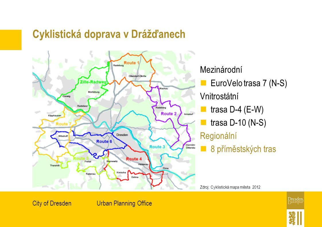 Urban Planning OfficeCity of Dresden Cyklistická doprava v Drážďanech Mezinárodní EuroVelo trasa 7 (N-S) Vnitrostátní trasa D-4 (E-W) trasa D-10 (N-S) Regionální 8 příměstských tras Zdroj: Cyklistická mapa města 2012