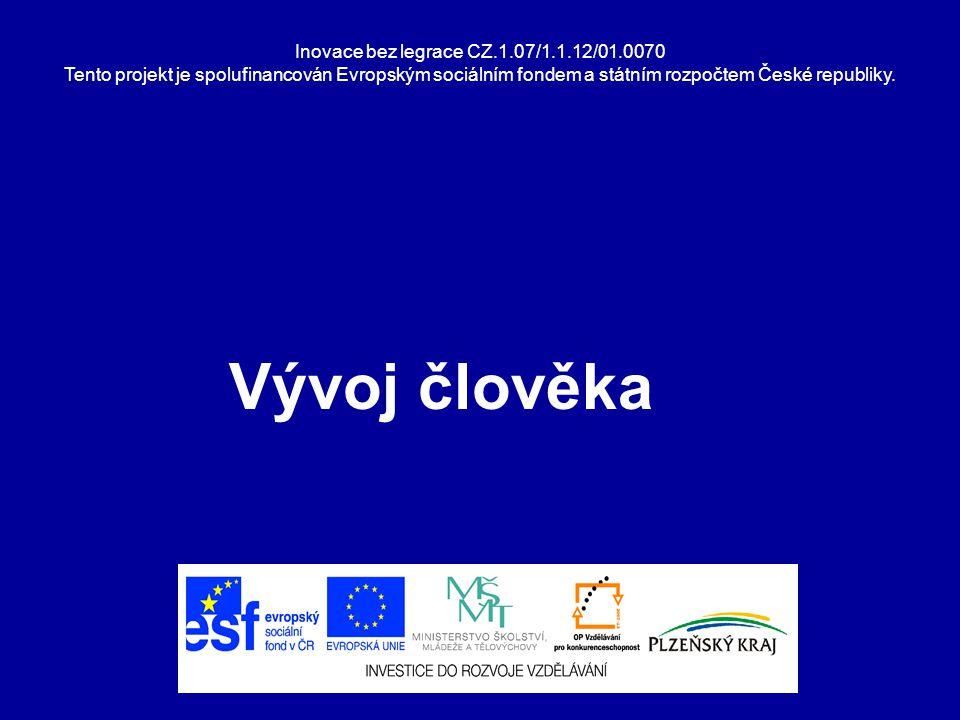 Inovace bez legrace CZ.1.07/1.1.12/01.0070 Tento projekt je spolufinancován Evropským sociálním fondem a státním rozpočtem České republiky. Vývoj člov