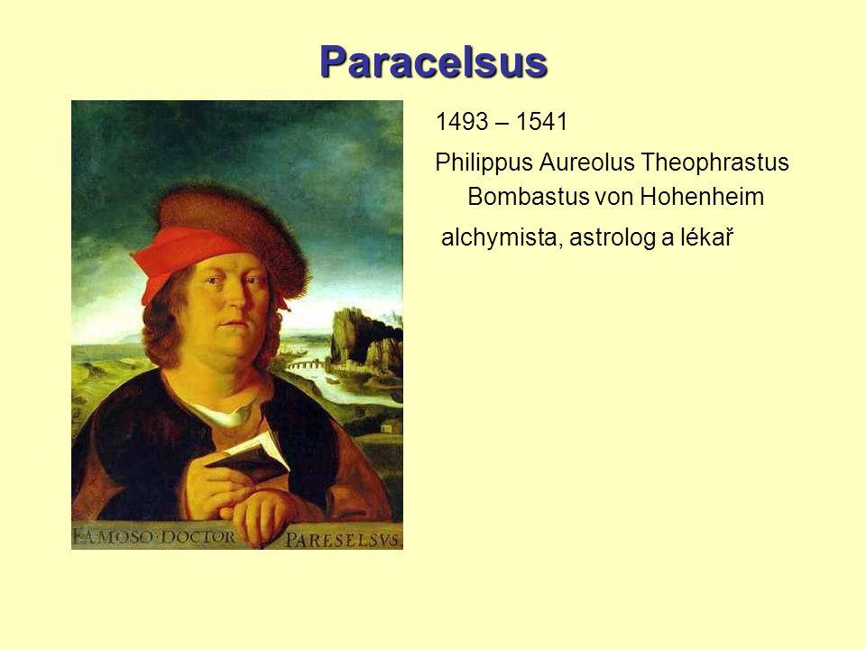 Paracelsus 1493 – 1541 Philippus Aureolus Theophrastus Bombastus von Hohenheim alchymista, astrolog a lékař