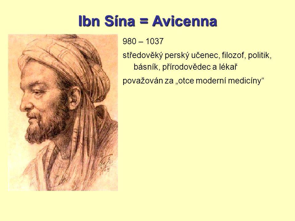 """Ibn Sína = Avicenna 980 – 1037 středověký perský učenec, filozof, politik, básník, přírodovědec a lékař považován za """"otce moderní medicíny"""""""