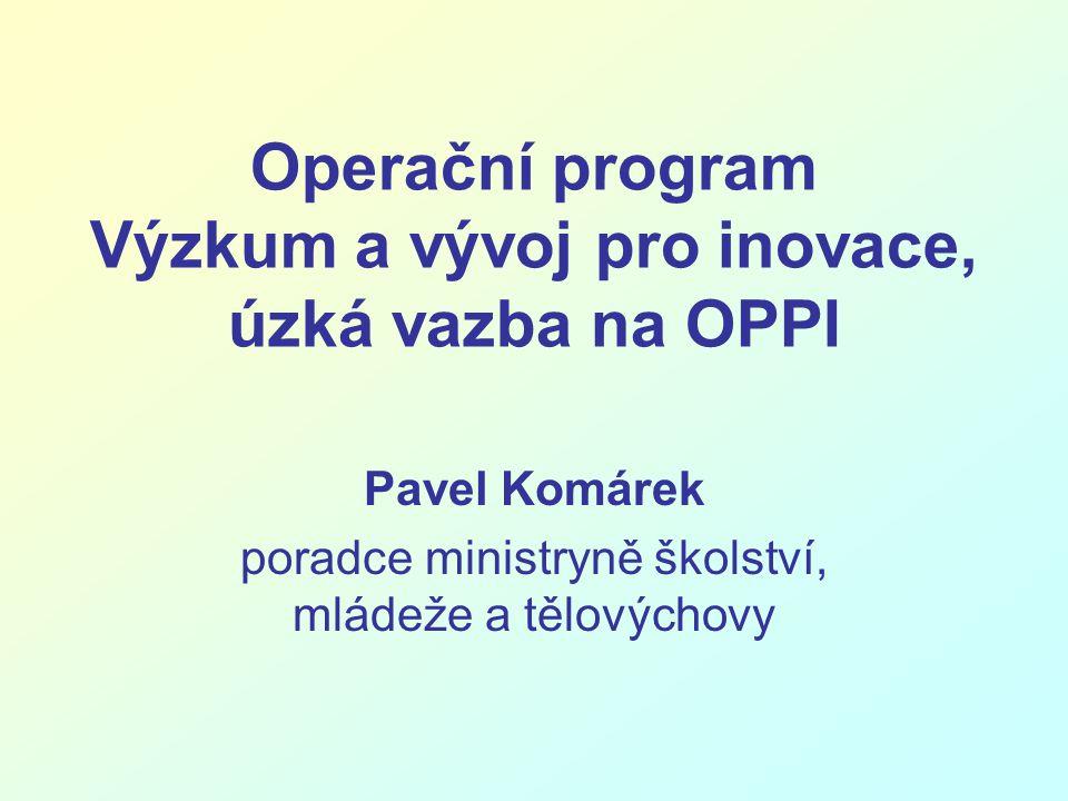 Operační program Výzkum a vývoj pro inovace, úzká vazba na OPPI Pavel Komárek poradce ministryně školství, mládeže a tělovýchovy