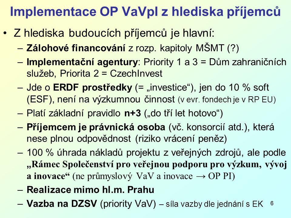 6 Implementace OP VaVpI z hlediska příjemců Z hlediska budoucích příjemců je hlavní: –Zálohové financování z rozp.