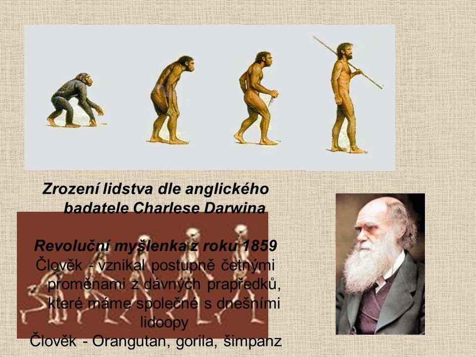 Zrození lidstva dle anglického badatele Charlese Darwina Revoluční myšlenka z roku 1859 Člověk - vznikal postupně četnými proměnami z dávných prapředk