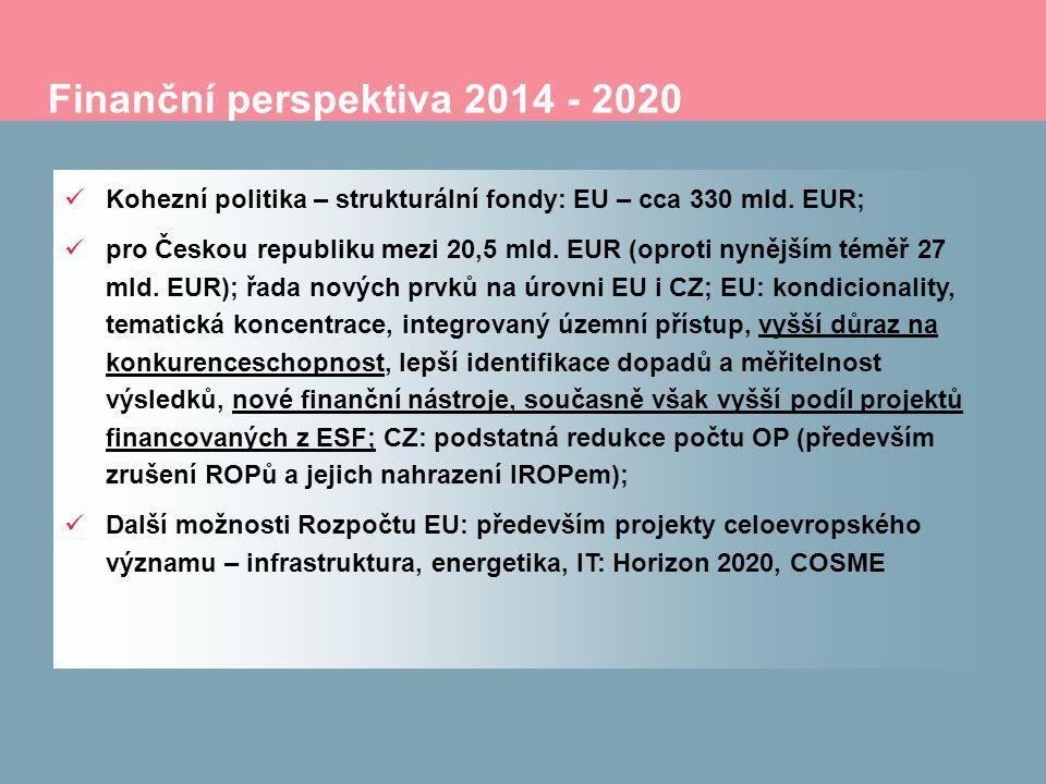 Finanční perspektiva 2014 - 2020 Kohezní politika – strukturální fondy: EU – cca 330 mld. EUR; pro Českou republiku mezi 20,5 mld. EUR (oproti nynější