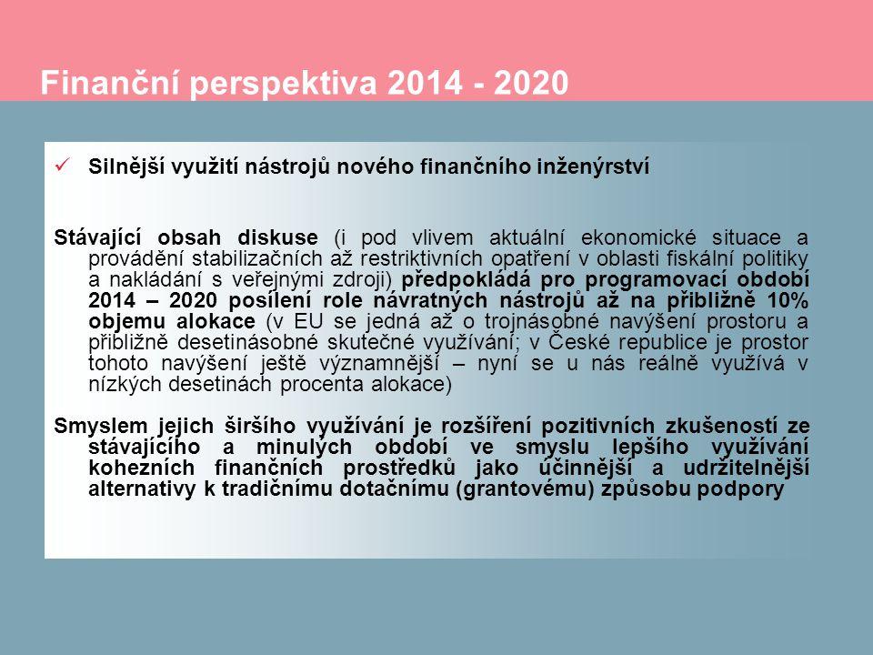 Finanční perspektiva 2014 - 2020 Silnější využití nástrojů nového finančního inženýrství Stávající obsah diskuse (i pod vlivem aktuální ekonomické situace a provádění stabilizačních až restriktivních opatření v oblasti fiskální politiky a nakládání s veřejnými zdroji) předpokládá pro programovací období 2014 – 2020 posílení role návratných nástrojů až na přibližně 10% objemu alokace (v EU se jedná až o trojnásobné navýšení prostoru a přibližně desetinásobné skutečné využívání; v České republice je prostor tohoto navýšení ještě významnější – nyní se u nás reálně využívá v nízkých desetinách procenta alokace) Smyslem jejich širšího využívání je rozšíření pozitivních zkušeností ze stávajícího a minulých období ve smyslu lepšího využívání kohezních finančních prostředků jako účinnější a udržitelnější alternativy k tradičnímu dotačnímu (grantovému) způsobu podpory