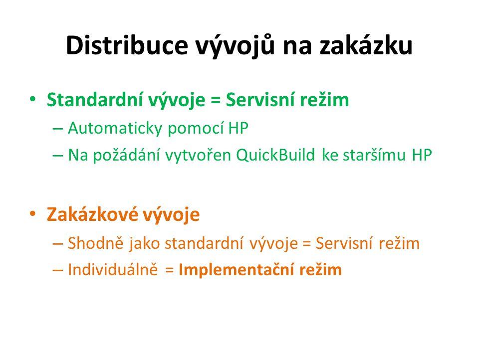 Distribuce vývojů na zakázku Standardní vývoje = Servisní režim – Automaticky pomocí HP – Na požádání vytvořen QuickBuild ke staršímu HP Zakázkové vývoje – Shodně jako standardní vývoje = Servisní režim – Individuálně = Implementační režim