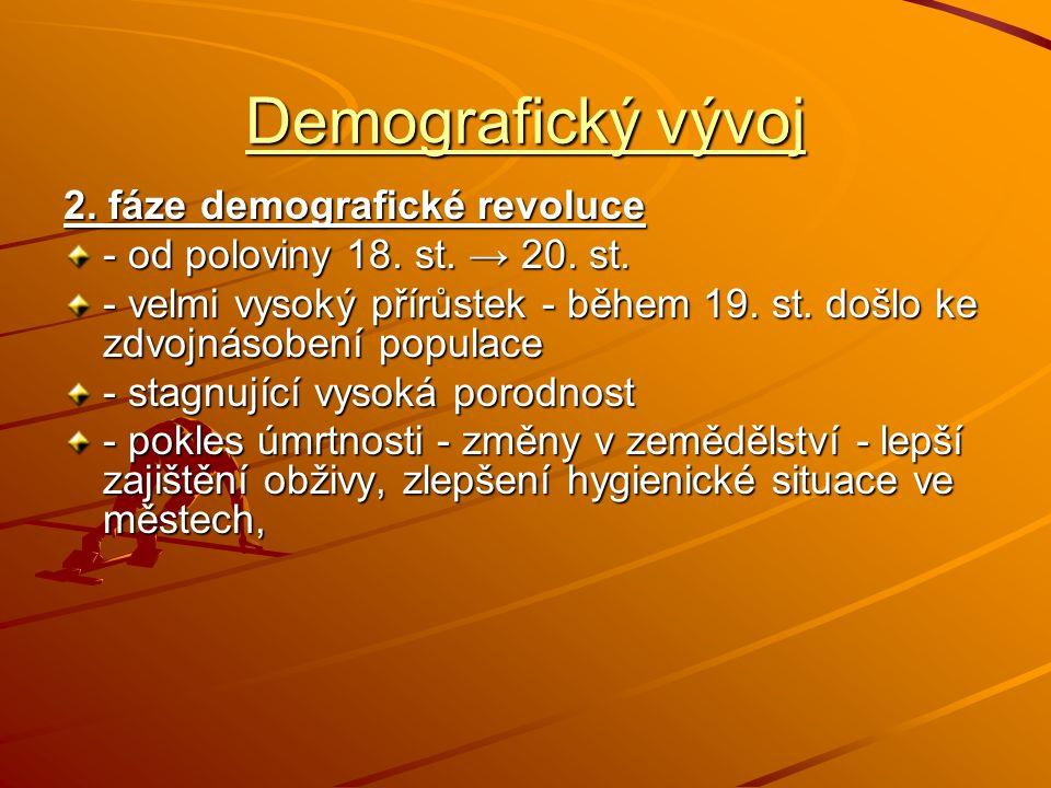 Demografický vývoj 2. fáze demografické revoluce - od poloviny 18. st. → 20. st. - velmi vysoký přírůstek - během 19. st. došlo ke zdvojnásobení popul