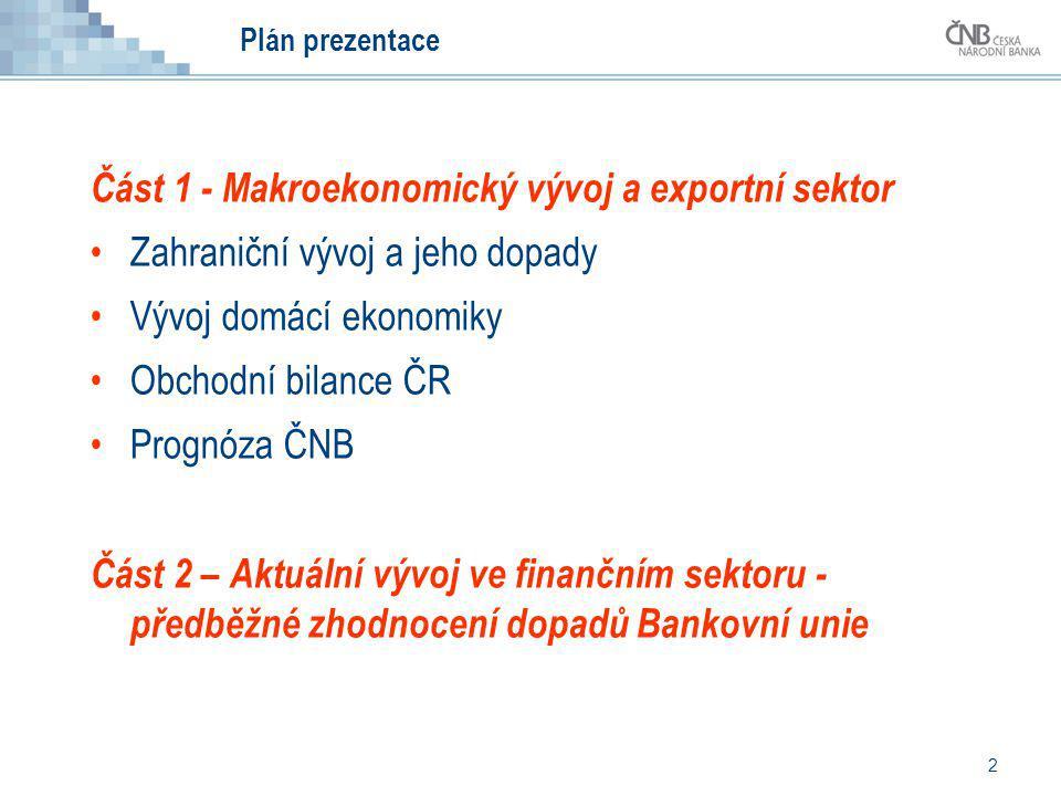 2 Plán prezentace Část 1 - Makroekonomický vývoj a exportní sektor Zahraniční vývoj a jeho dopady Vývoj domácí ekonomiky Obchodní bilance ČR Prognóza
