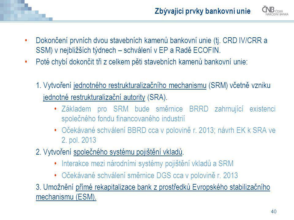40 Zbývající prvky bankovní unie Dokončení prvních dvou stavebních kamenů bankovní unie (tj. CRD IV/CRR a SSM) v nejbližších týdnech – schválení v EP