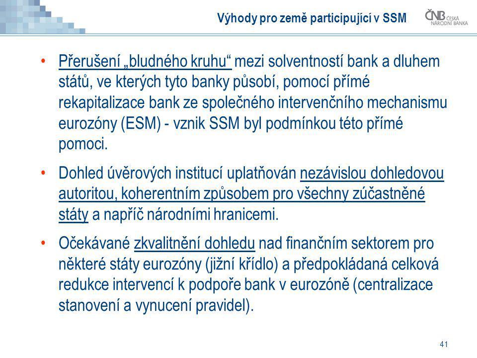"""41 Výhody pro země participující v SSM Přerušení """"bludného kruhu"""" mezi solventností bank a dluhem států, ve kterých tyto banky působí, pomocí přímé re"""