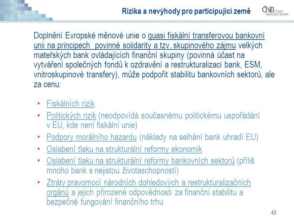 42 Rizika a nevýhody pro participující země Doplnění Evropské měnové unie o quasi fiskální transferovou bankovní unii na principech povinné solidarity