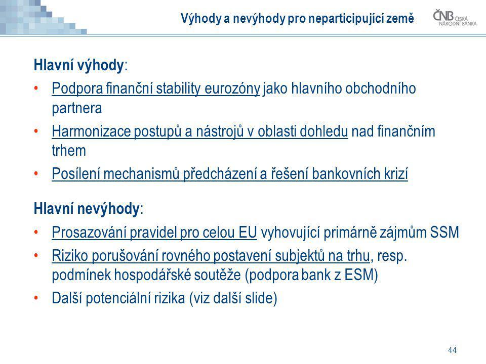 44 Výhody a nevýhody pro neparticipující země Hlavní výhody : Podpora finanční stability eurozóny jako hlavního obchodního partnera Harmonizace postup