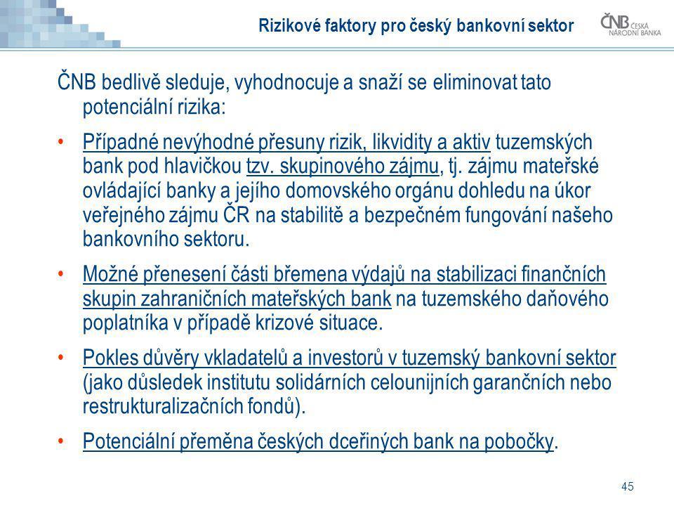 45 Rizikové faktory pro český bankovní sektor ČNB bedlivě sleduje, vyhodnocuje a snaží se eliminovat tato potenciální rizika: Případné nevýhodné přesu