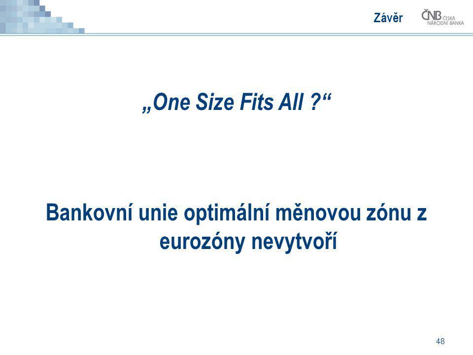 """48 Závěr """"One Size Fits All ?"""" Bankovní unie optimální měnovou zónu z eurozóny nevytvoří"""