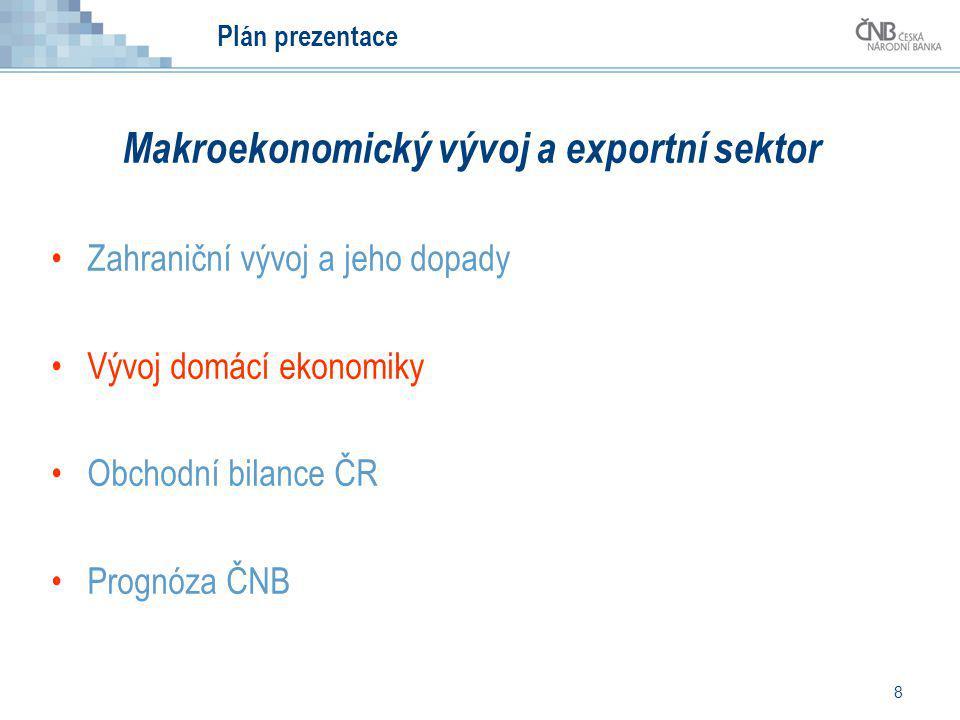 8 Plán prezentace Makroekonomický vývoj a exportní sektor Zahraniční vývoj a jeho dopady Vývoj domácí ekonomiky Obchodní bilance ČR Prognóza ČNB