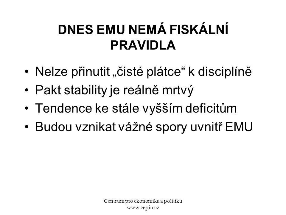 """Centrum pro ekonomiku a politiku www.cepin.cz DNES EMU NEMÁ FISKÁLNÍ PRAVIDLA Nelze přinutit """"čisté plátce"""" k disciplíně Pakt stability je reálně mrtv"""