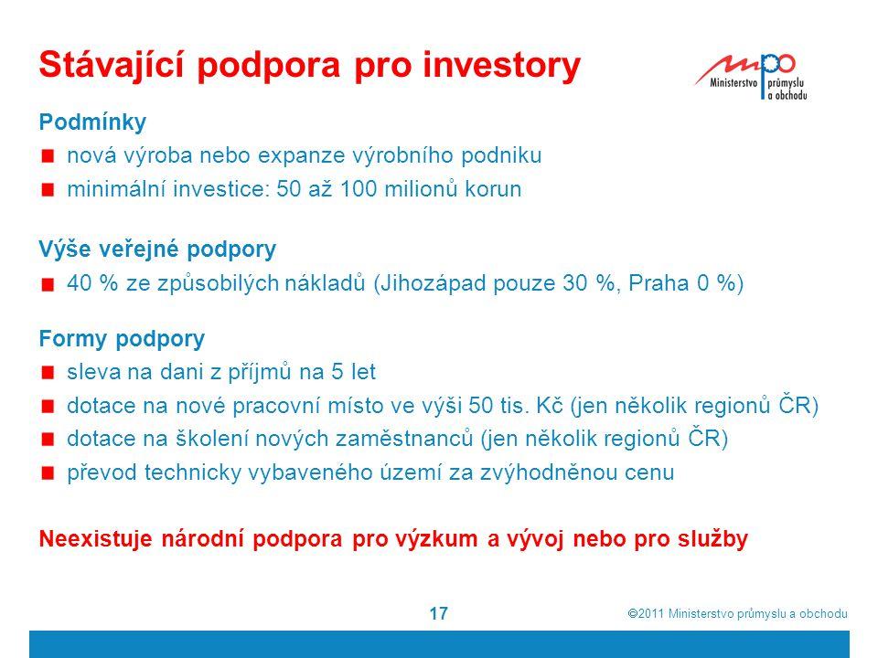  2011  Ministerstvo průmyslu a obchodu 17 Podmínky nová výroba nebo expanze výrobního podniku minimální investice: 50 až 100 milionů korun Výše veř
