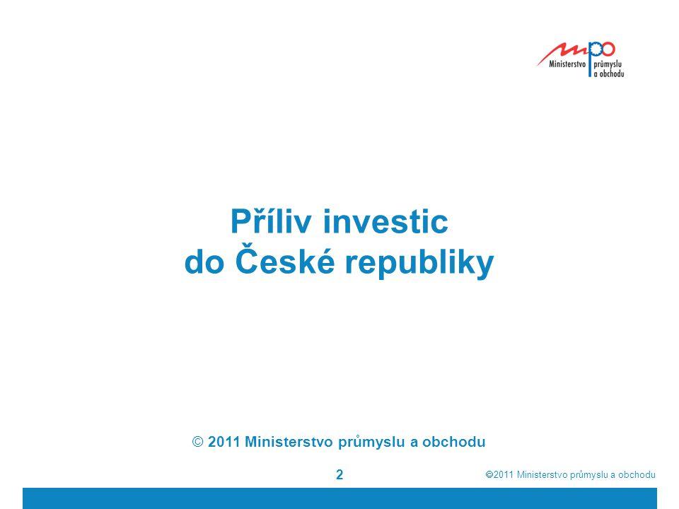  2011  Ministerstvo průmyslu a obchodu 13 Ideální stav z pohledu investora: velký trh, koupěschopná poptávka levná a vzdělaná pracovní síla výhodná geografická poloha a kvalitní infrastruktura nízká daňová a administrativní zátěž veřejná podpora Schopnost přilákat a dlouhodobě udržet zahraniční kapitál je předpokladem úspěšné hospodářské politiky Investoři přinášejí nejen kapitál, ale i nové technologie, manažerské schopnosti, kultivují podnikatelské prostředí Atraktivita pro nové investice