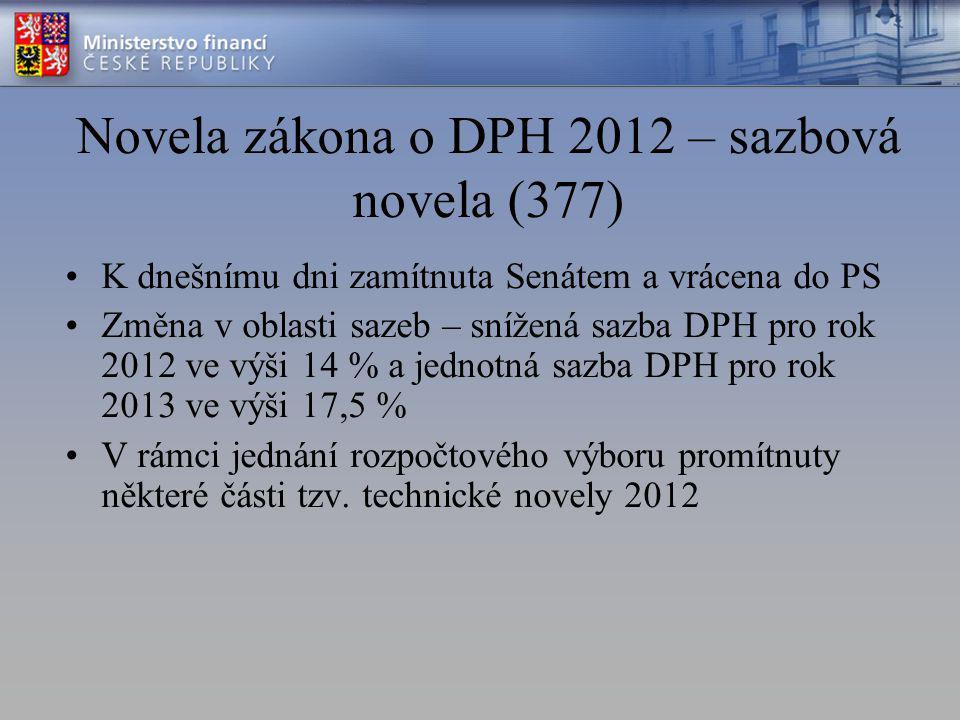 Novela zákona o DPH 2012 – sazbová novela (377) K dnešnímu dni zamítnuta Senátem a vrácena do PS Změna v oblasti sazeb – snížená sazba DPH pro rok 2012 ve výši 14 % a jednotná sazba DPH pro rok 2013 ve výši 17,5 % V rámci jednání rozpočtového výboru promítnuty některé části tzv.