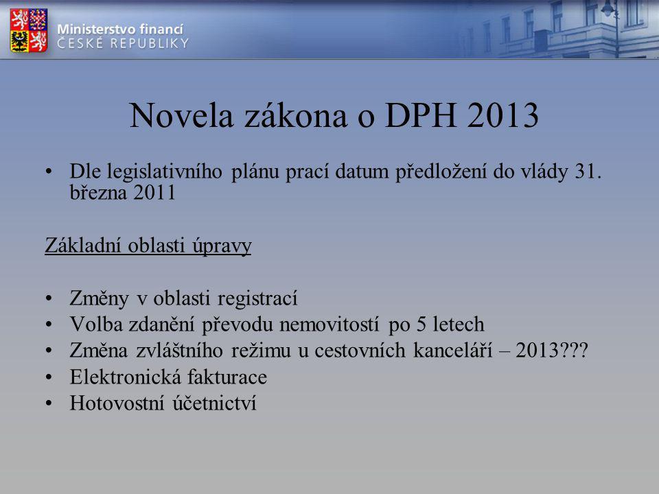 Novela zákona o DPH 2013 Dle legislativního plánu prací datum předložení do vlády 31.