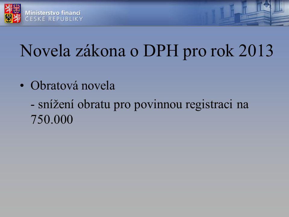Novela zákona o DPH pro rok 2013 Obratová novela - snížení obratu pro povinnou registraci na 750.000