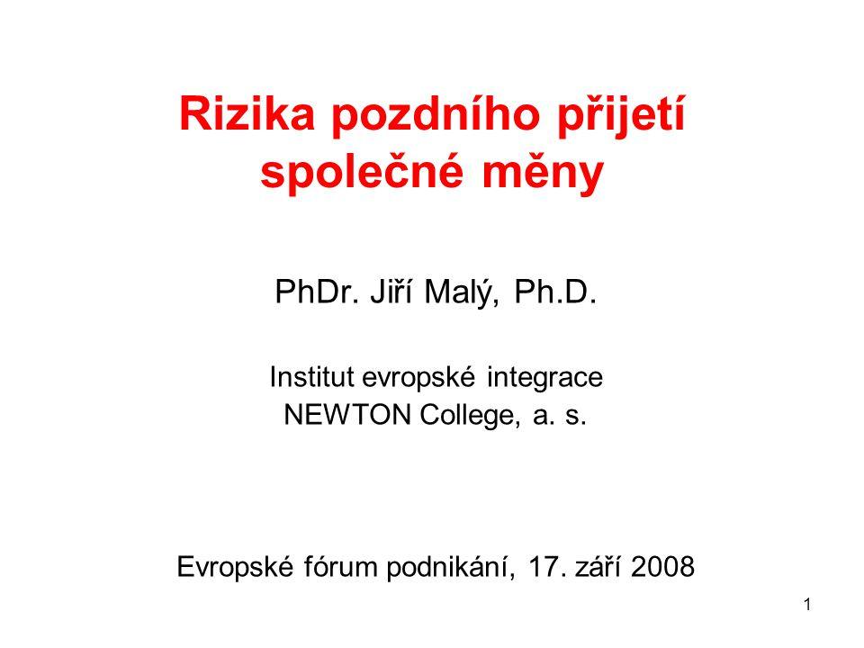 1 Rizika pozdního přijetí společné měny PhDr.Jiří Malý, Ph.D.
