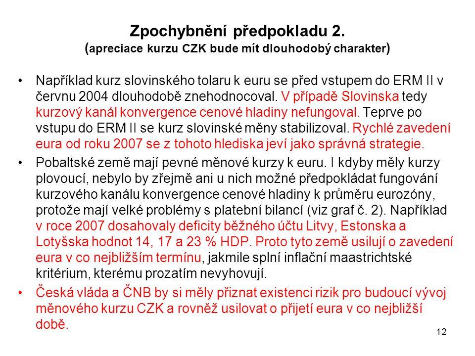 12 Zpochybnění předpokladu 2. ( apreciace kurzu CZK bude mít dlouhodobý charakter ) Například kurz slovinského tolaru k euru se před vstupem do ERM II