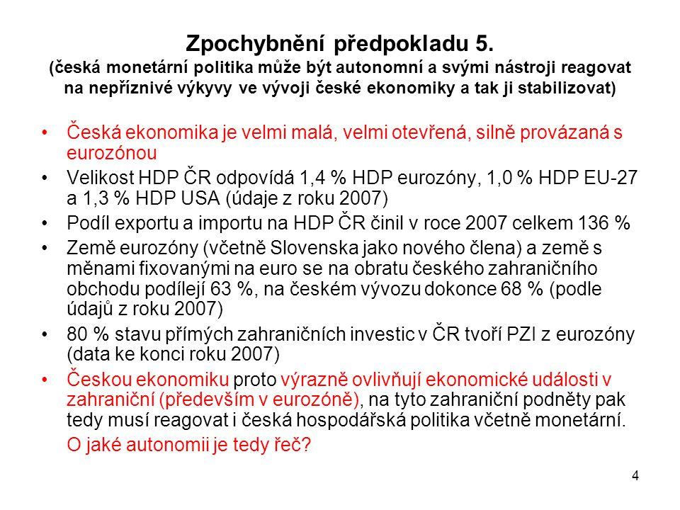 4 Zpochybnění předpokladu 5. (česká monetární politika může být autonomní a svými nástroji reagovat na nepříznivé výkyvy ve vývoji české ekonomiky a t
