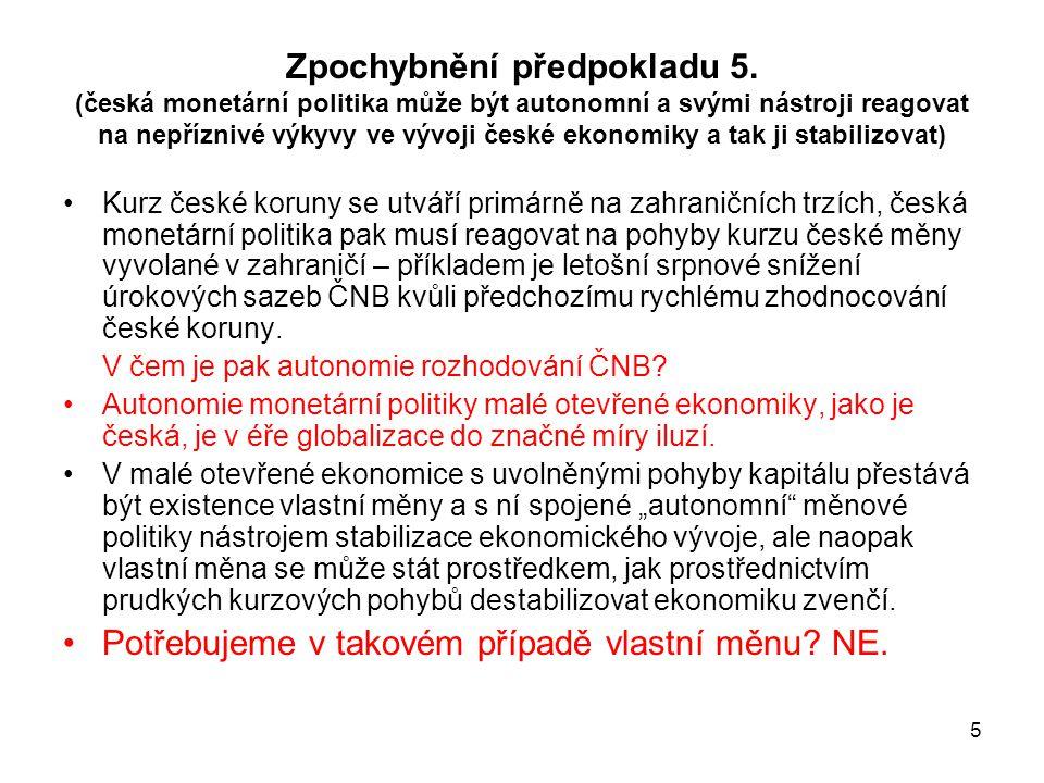 5 Zpochybnění předpokladu 5. (česká monetární politika může být autonomní a svými nástroji reagovat na nepříznivé výkyvy ve vývoji české ekonomiky a t