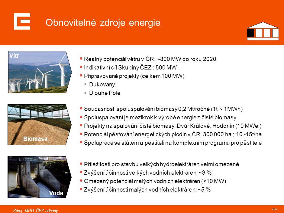 26 Obnovitelné zdroje energie  Příležitosti pro stavbu velkých hydroelektráren velmi omezené  Zvýšení účinnosti velkých vodních elektráren: ~3 %  O