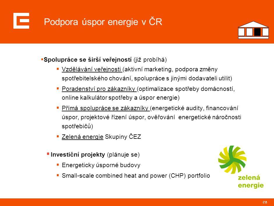 28 Podpora úspor energie v ČR  Spolupráce se širší veřejností (již probíhá)  Vzdělávání veřejnosti (aktivní marketing, podpora změny spotřebitelskéh