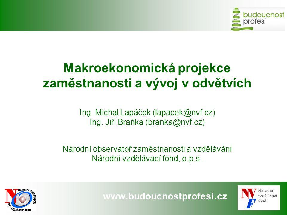 www.budoucnostprofesi.cz Makroekonomická projekce zaměstnanosti a vývoj v odvětvích Ing. Michal Lapáček (lapacek@nvf.cz) Ing. Jiří Braňka (branka@nvf.