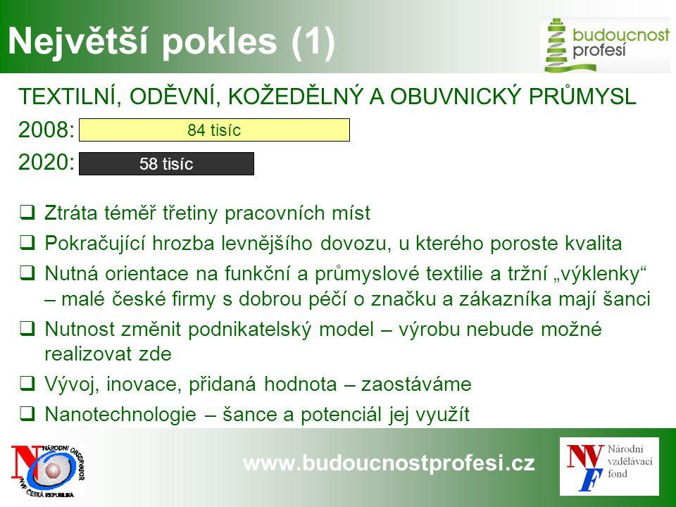 www.budoucnostprofesi.cz Největší pokles (1) TEXTILNÍ, ODĚVNÍ, KOŽEDĚLNÝ A OBUVNICKÝ PRŮMYSL 2008: 2020:  Ztráta téměř třetiny pracovních míst  Pokr