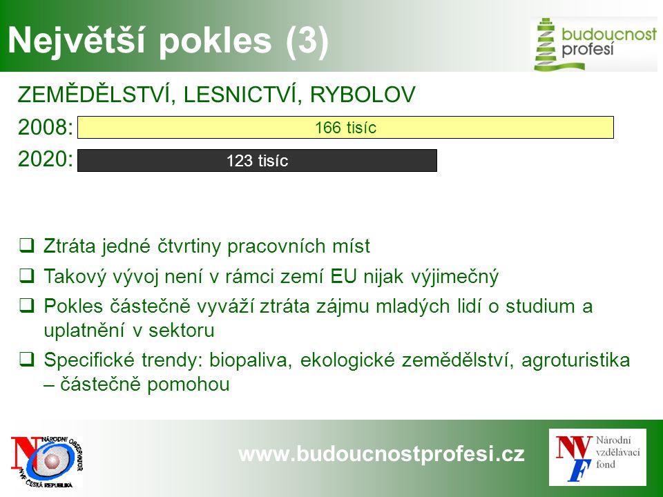 www.budoucnostprofesi.cz Největší pokles (3) ZEMĚDĚLSTVÍ, LESNICTVÍ, RYBOLOV 2008: 2020:  Ztráta jedné čtvrtiny pracovních míst  Takový vývoj není v