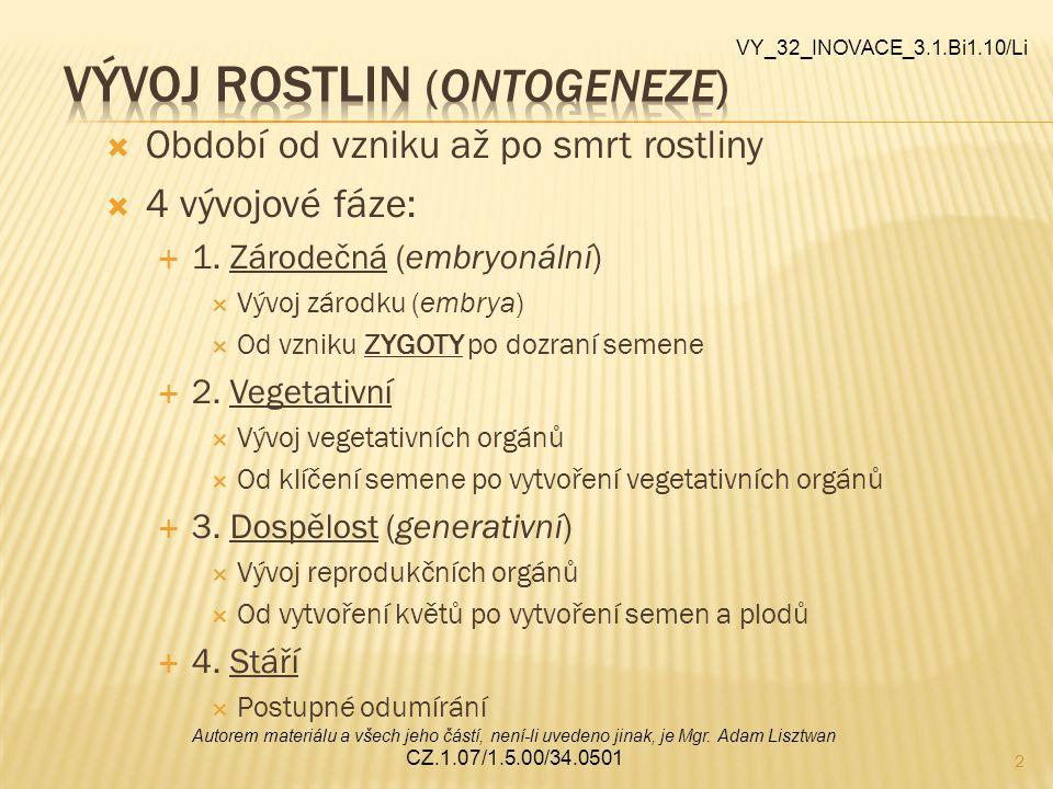 3 OOdpočinek, vegetační klid ZZastavuje růst, snižuje se intenzita metabolismu PPřežití nepříznivých podmínek (zima, sucho) VVznik: nahromaděním ABA + vnější podmínky AAdaptace: OOpad listů OOdumření prýtu TTvorba zásobních orgánů (hlízy, cibule aj.) DDělení: VVynucená dormance DDormance z vnitřních příčin VY_32_INOVACE_3.1.Bi1.10/Li Autorem materiálu a všech jeho částí, není-li uvedeno jinak, je Mgr.