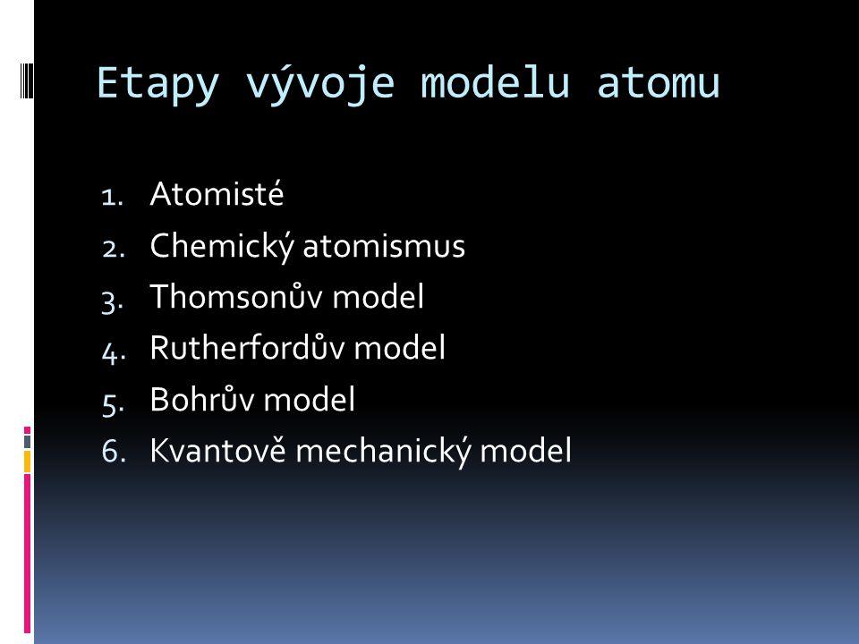 Etapy vývoje modelu atomu 1. Atomisté 2. Chemický atomismus 3. Thomsonův model 4. Rutherfordův model 5. Bohrův model 6. Kvantově mechanický model