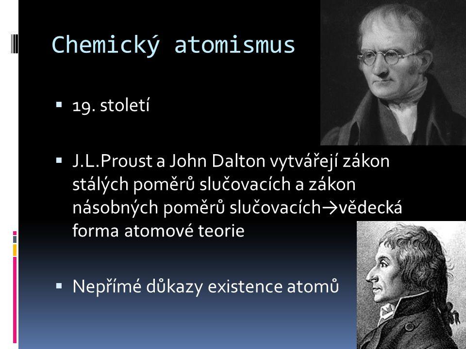 Chemický atomismus  19. století  J.L.Proust a John Dalton vytvářejí zákon stálých poměrů slučovacích a zákon násobných poměrů slučovacích →vědecká f