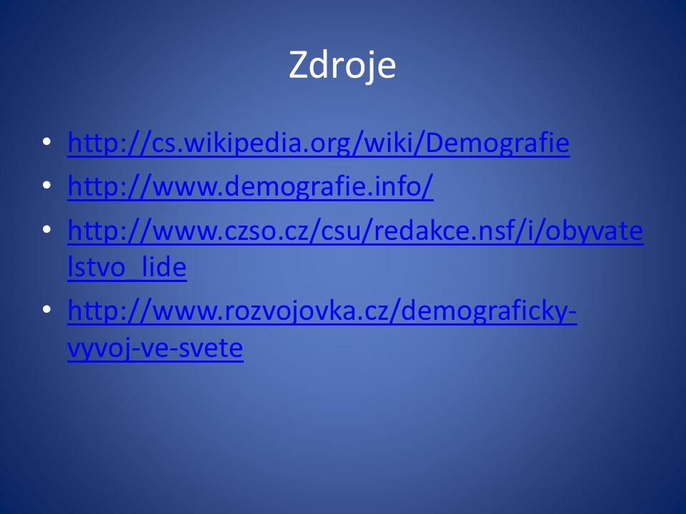 Zdroje http://cs.wikipedia.org/wiki/Demografie http://www.demografie.info/ http://www.czso.cz/csu/redakce.nsf/i/obyvate lstvo_lide http://www.czso.cz/